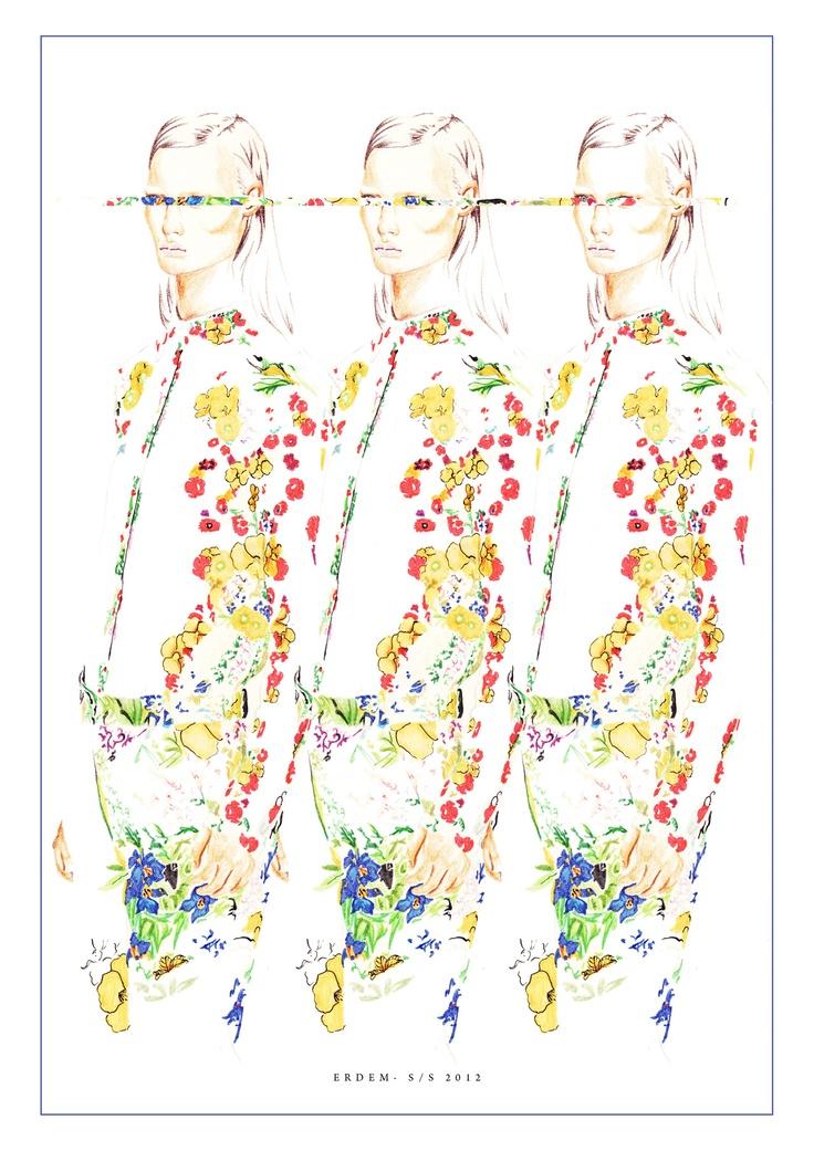 Erdem illustration- Felt tip/ graphic marker/ pen/ coloured pencil by Nas Abraham