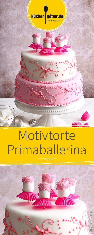 Ein Traum für jede Primaballerina! Diese dreistöckige Motivtore ist mit rosa und weißem Fondant überzogen und punktet mit ihrem verspielten Design.