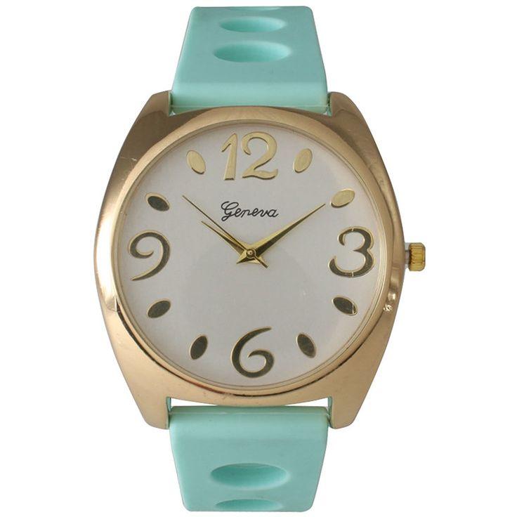 Olivia Pratt Orange/Goldtone Silicone/Stainless Steel Women's Watch