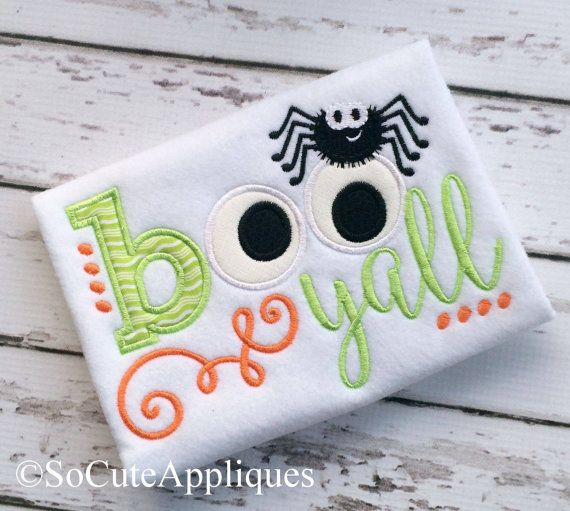 Embroidery design 5X7 Halloween applique, BOO ya'll, Boy embroidery, Halloween embroidery, socuteappliques, spider embroidery,