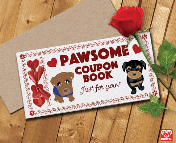 Printable Love Coupon Book and Envelope, Dog Theme (Unisex) Instant Digital Download (only) PDF 5 page document