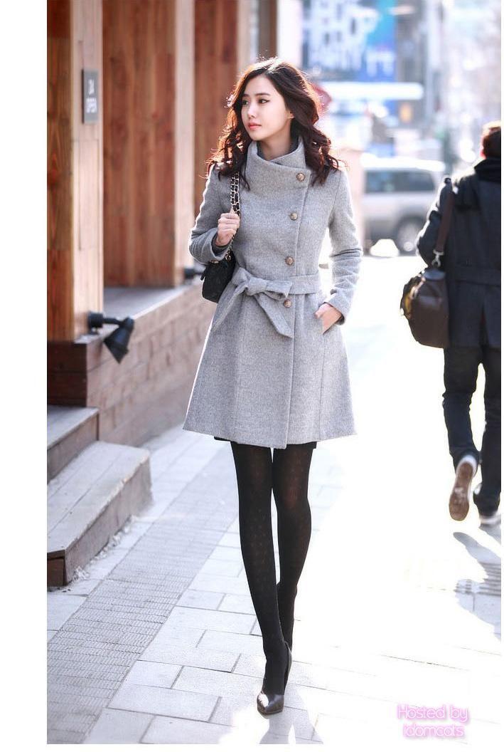 WANT. <3 Japanese fashion. Ebay: Grey Womens Japan Celebrity Ladies Furry Upright Collar Belted Coat Jacket