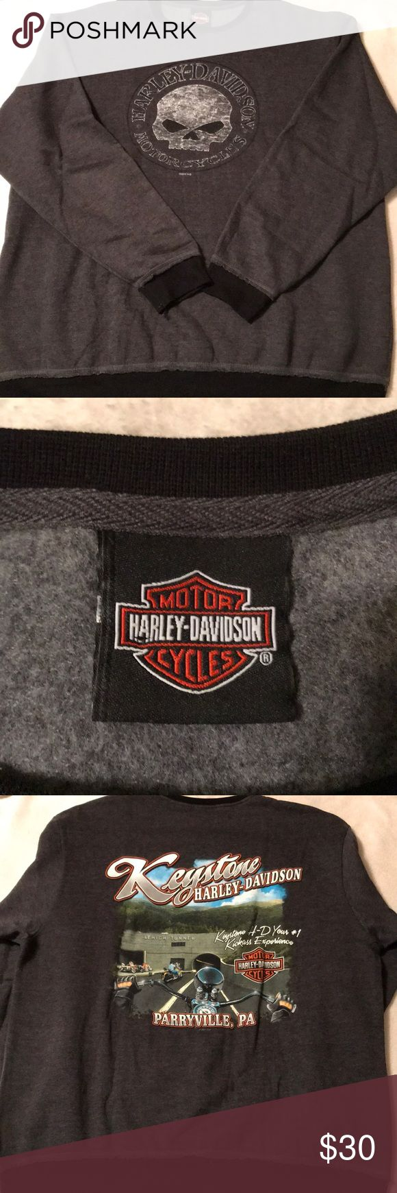 Newish EUC Harley Davidson sweatshirt. Size 1X. EUC newish Harley Davidson distressed look sweatshirt. Size 1X. Only worn a couple times. Stored more than worn! No rips, tears, or stains. Comes from a smoke and pet free home. I have lost a lot of weight and can no longer wear. Offers considered. Bundle and save. Harley-Davidson Tops Sweatshirts & Hoodies