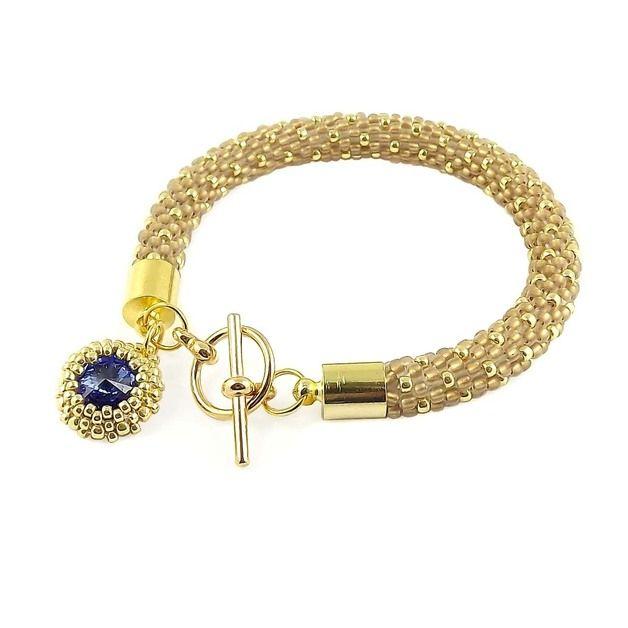 Crochet Beaded Bracelet - Sapphire & Gold-Lined Crystal – a unique product by TarragonArt on DaWanda