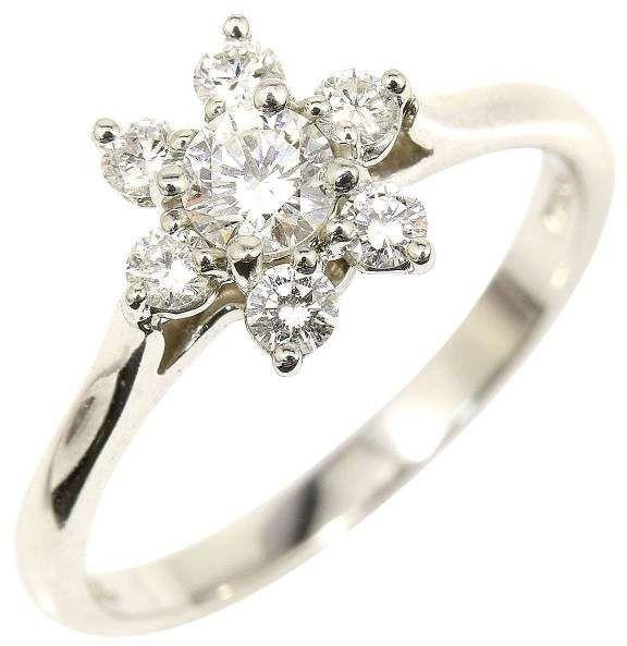 Tiffany Co 950 Platinum Diamond Flower Ring Size 5 75
