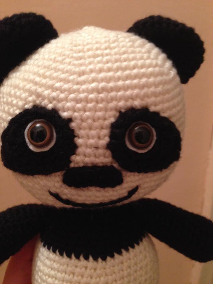 Franky the panda bear is done. It is approx. 25 centimetres tall. Franky a pandamaci elkészült. Körülbelül 25 cm magas.  Pattern is coming soon on my website. www.noemicrochet.com You can follow me on instagram. @noemi.v67
