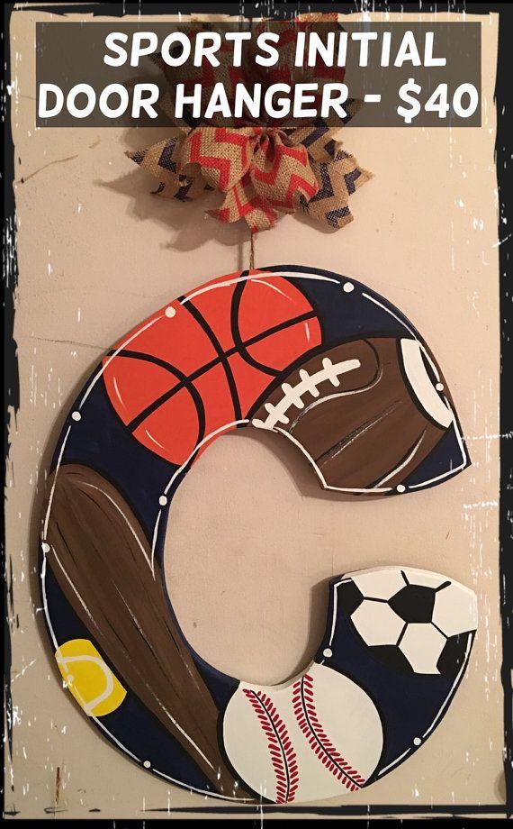 Sports Balls Initial Door Hanger