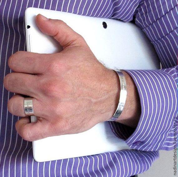 """Купить Браслет с гравировкой """"Памятный подарок"""". Серебряны браслет для мужчин - серебряный, браслет, браслеты"""