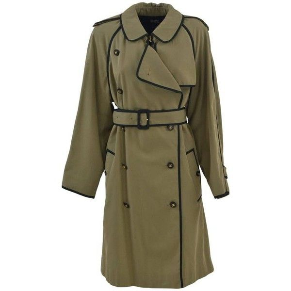Preowned 1990s Chanel Khaki Green Trench Coat ($2,508) ❤ liked on Polyvore featuring outerwear, coats, green, trench coats, khaki coat, chanel coat, khaki trench coat, double breasted coat and long sleeve coat
