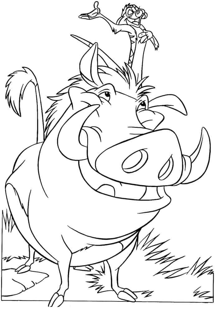 coloring pages from cartoon lion king