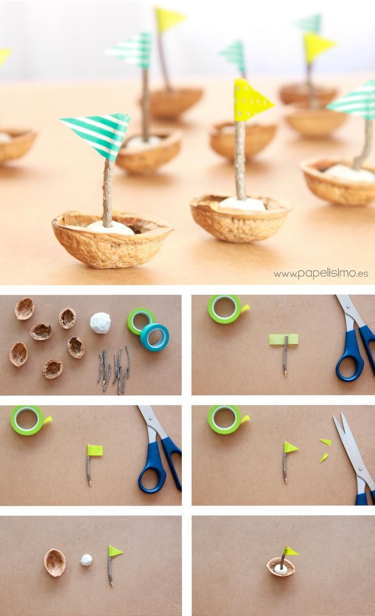 Paso a paso: barquitos de cáscara de nuez. Boats with nutshell #kidscraft #recycling #washitape -Neverland
