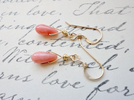 Coral earrings Pink coral earrings Wedding jewelry by KeyYoung, $23.00