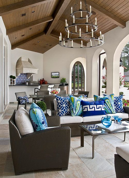 Bright Pillow fabrics from #Schumacher for an Outdoor living space in Texas designed Sheila Lyon Interiors