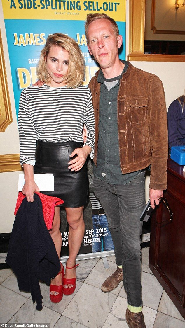 Quirky style: Billie Piper, 32, and husband Laurence Fox arrived at the press night for De...
