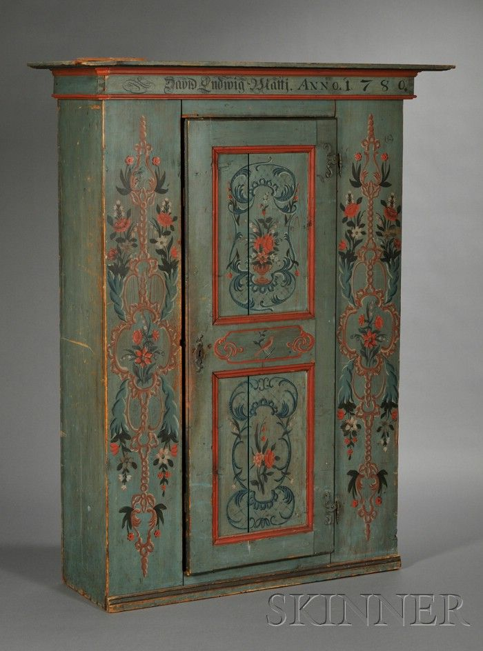 Swedish Painted Pine Armoire, with plain projecting crest, dated 1780.