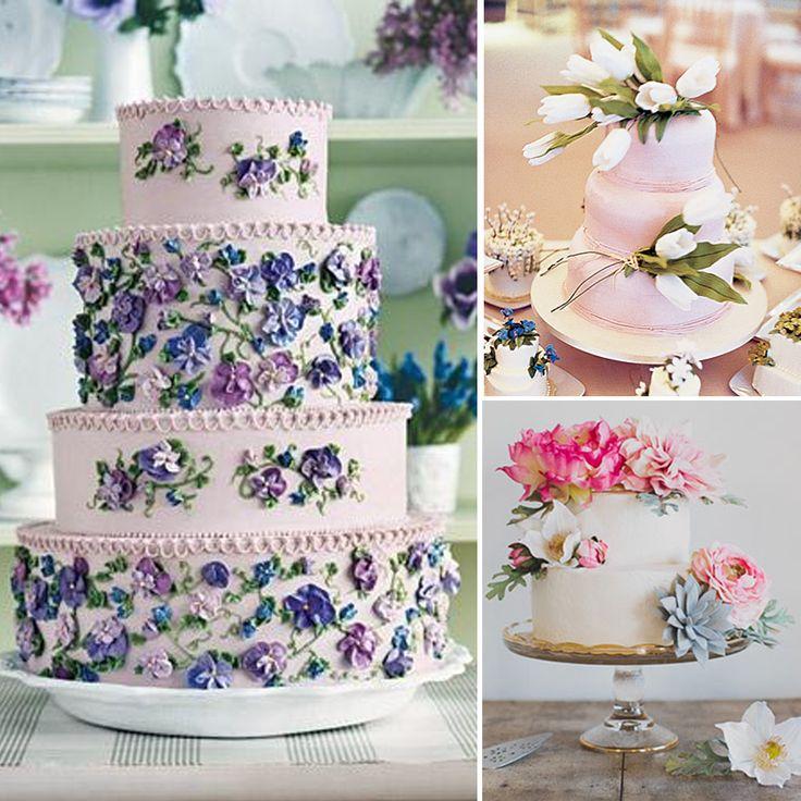Lila ve pembe tonlarıyla hazırlanmış rüya gibi düğün pastaları..