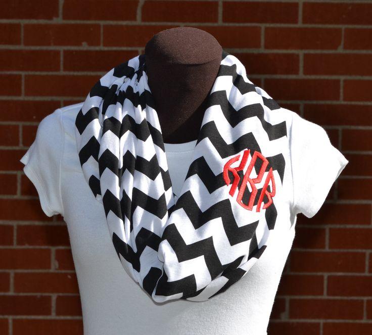 Monogrammed Chevron Infinity Scarf Knit Jersey. $28.00, via Etsy.