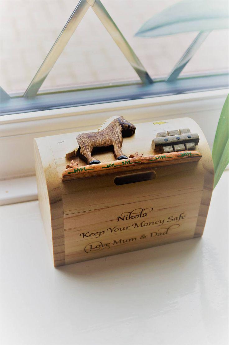 Childrens wooden money box, personalised money box, animal money box, christening gift, childs birthday gift, money box, moneybox by celebrateyourway on Etsy