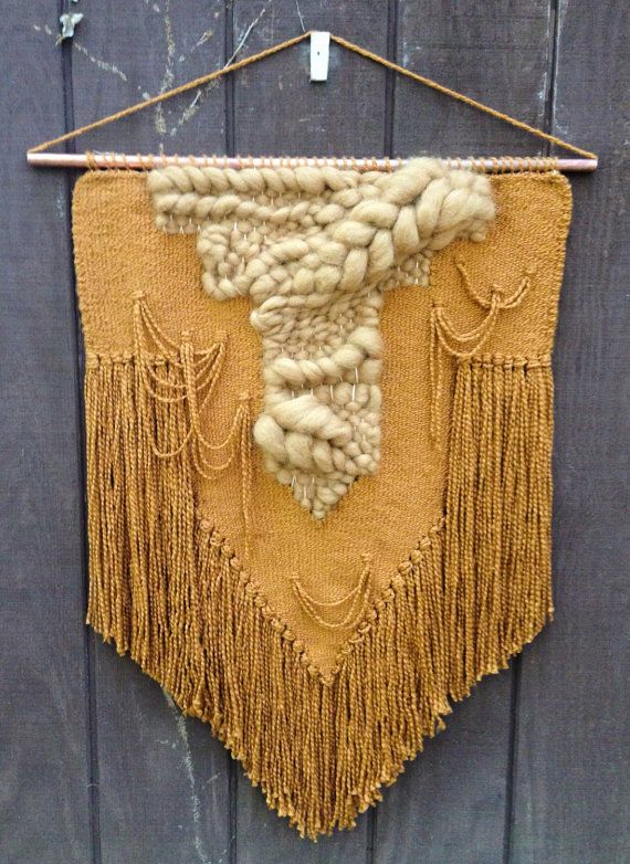 Wall Hanging // Weaving Gold Large Tapestry by IslandFordWeaving