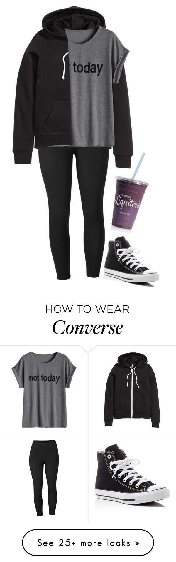 """not today"" by ryleerose1998 on Polyvore featuring H&M, Venus, Converse and plus size clothing"
