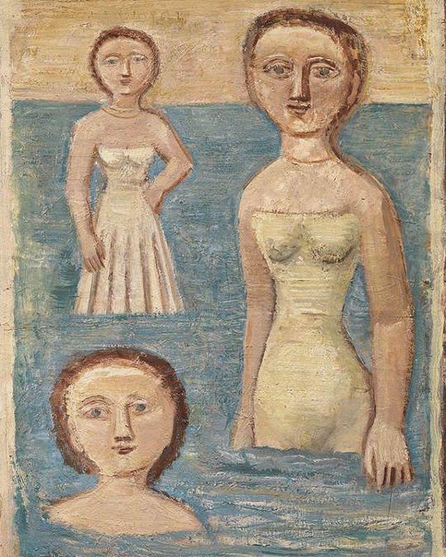 Massimo Campigli (1895-1971), Bagnanti / Bathers oil on canvas, 91,5 x 65 cm @vitalogico
