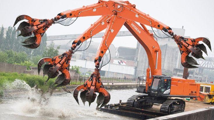 Heavy Dangerous Large Work Excavator Machines Destroy Everything, Fastes...