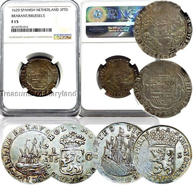 NGC F15 1620 Spanish Netherlands 3 Patards, 1680 6 Stuivers, 1802 1/16 Gulden!