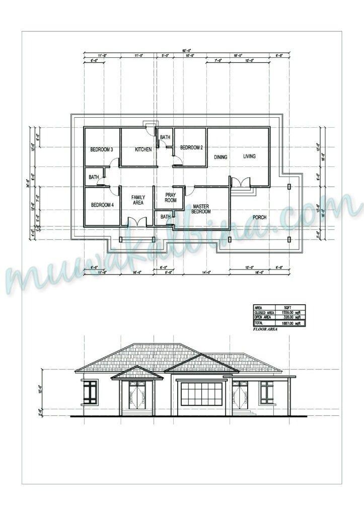 Keluasan 1 887kps 4 Bilik Tidur 3 Bilik Air Bungalow Floor Plans How To Plan House Plans