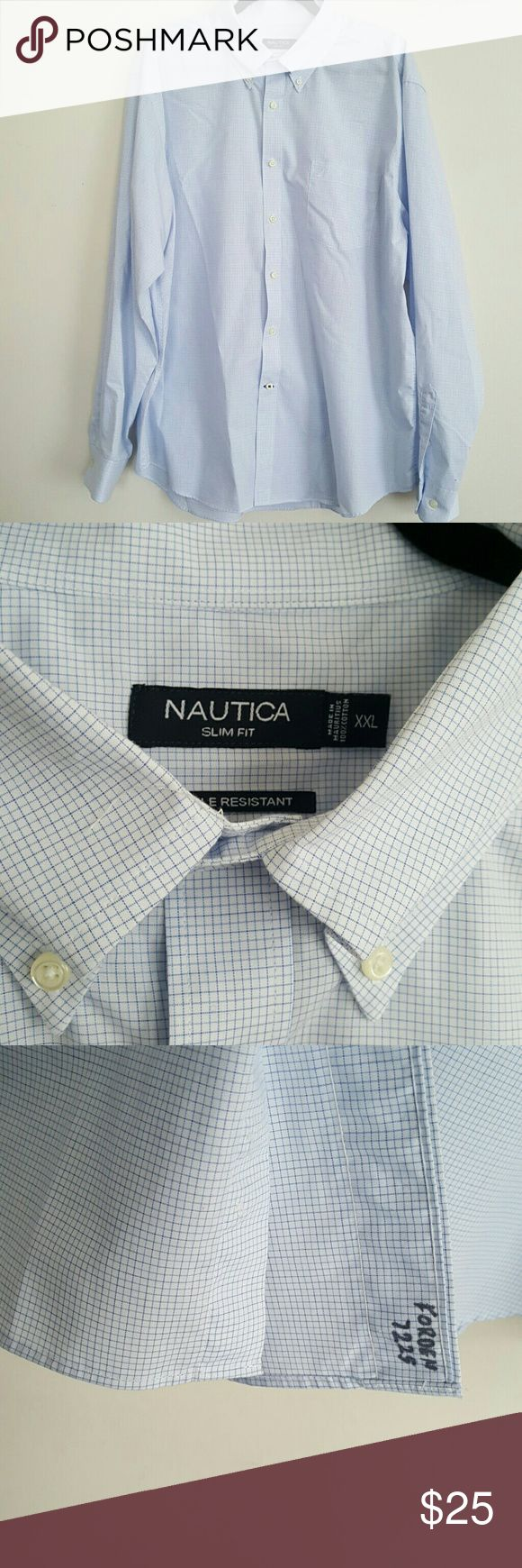 "Nautica Blue Checkered Shirt SKY/ LIGHT Blue Checkered with signature ship on chest pocket  Slim XXL Wrinkle Resistance   Measurements Appox. Laying flat  Armpit to Armpit 25""  Front top to bottom 29""  Back top to bottom 33""  Shoulder to end of cuff 26""  Neck 7"" Across  Only flaw is name written small on inside flap (see photo) Nautica Shirts Casual Button Down Shirts"