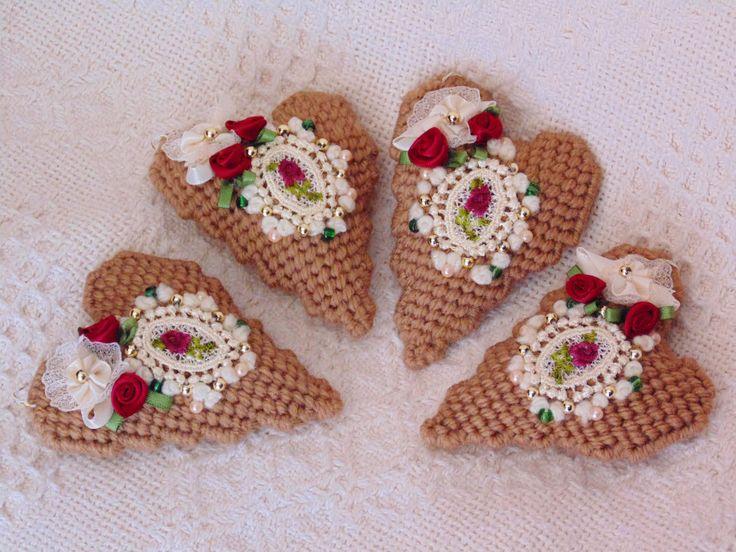 Victorian Valentine Ornaments SET OF TWO Needle Art Hearts, Wedding Favors, Pincushion, Mini Heart Pillow, Basket/Bowl Filler, Mixed Media