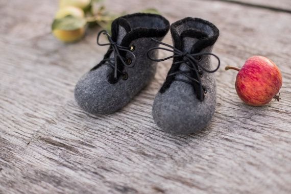 Baby shoes felted boots boys infant baby by AureliaFeltStudio