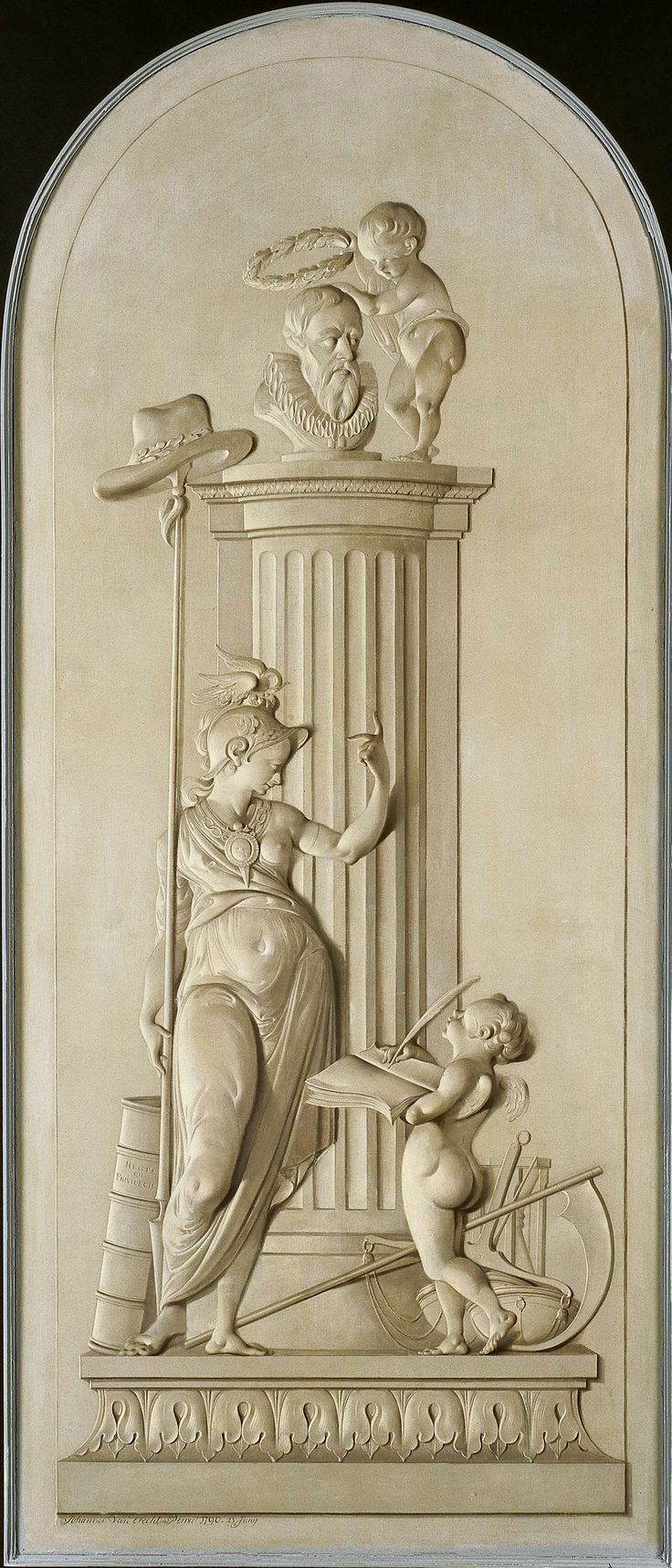 Johannes van Dregt   Allegory of Freedom, Johannes van Dregt, 1790   Symbolische figuur van de Ware Vrijheid. In haar rechterhand houdt zij een met een hoed bekroonde stok. Met haar linkerhand wijst zij naar de portretbuste van Johan van Oldenbarnevelt op de zuil. Rechts naast de buste een putto met een lauwerkrans in zijn rechterhand. Rechts onder aan de zuil een schrijvende putto met boek en veer en enkele attributen. Links een boek.