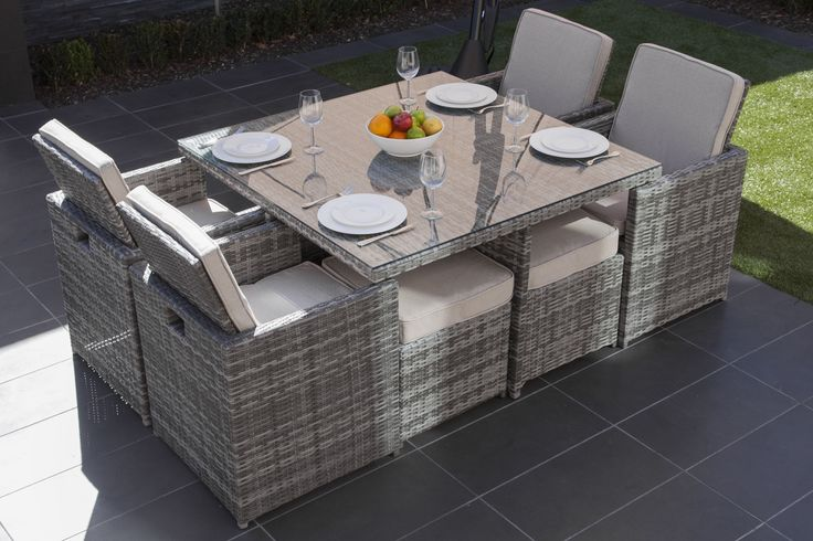Moda Furnishings Bahama Outdoor Wicker 4 Seat Cube Dining Set - Grey or Brown - Outdoor Dining