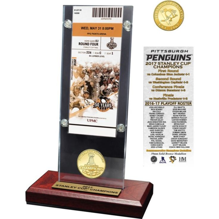 Highland Mint 2017 Stanley Cup Champions Pittsburgh Penguins Ticket and Bronze Coin Desktop Display, Team