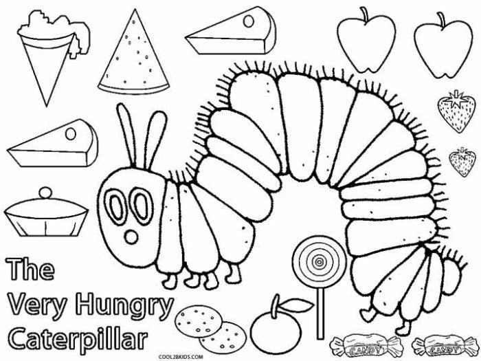 Hungry Caterpillar Coloring Pages   Raupe nimmersatt ...