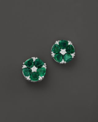 Emerald and Diamond Flower Stud Earrings in 14K White Gold | Bloomingdale's