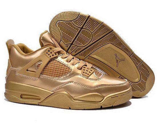 womens air jordan retro 4 gold black