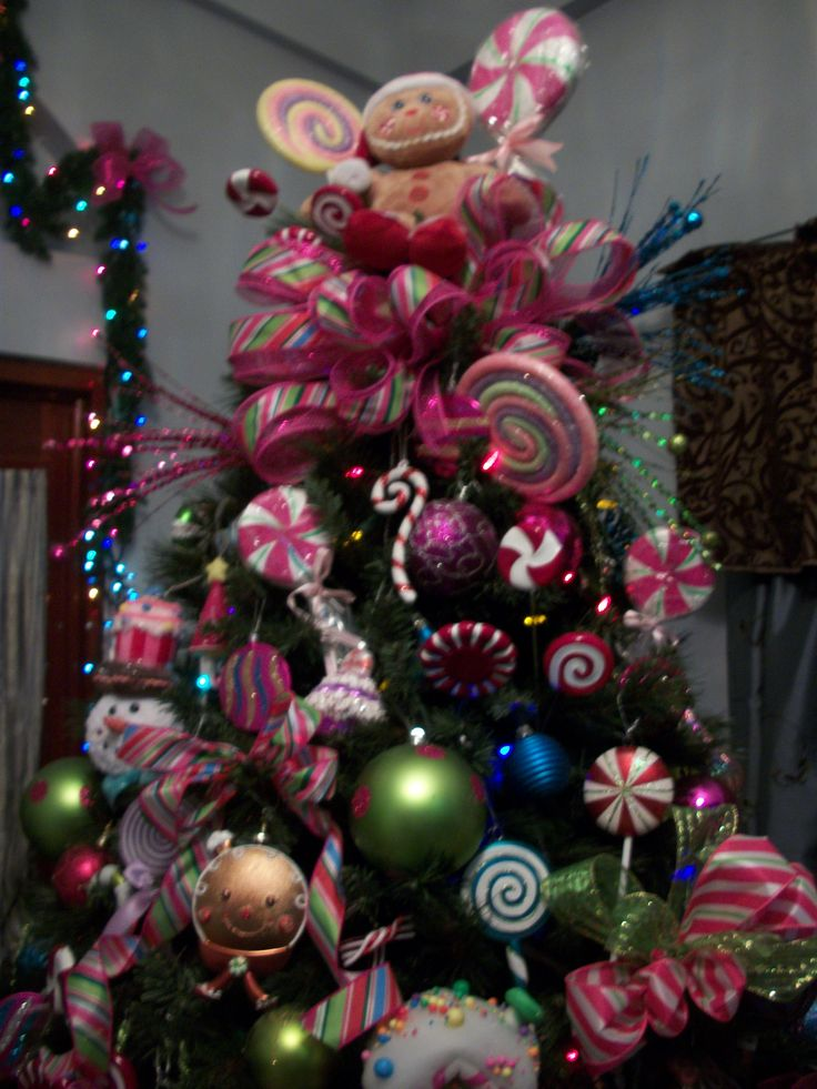 296 best christmas decor candy land lane images on for Candy xmas tree decoration