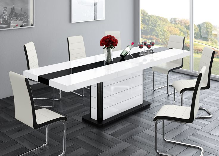 czarno biały stół PIANOSA - łączy w sobie klasykę i elegancję, nowoczesny stół, wysoki połysk,