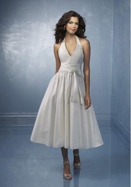 Funky Halter V-Neck Empire Waist Appliques Sash Tea-Length Wedding Dresses ,Short Wedding Dresses,