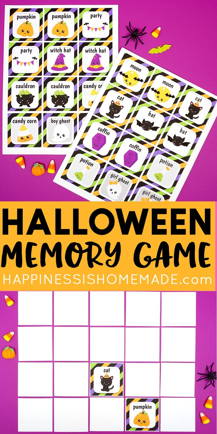 Free printable halloween memory match game these adorable
