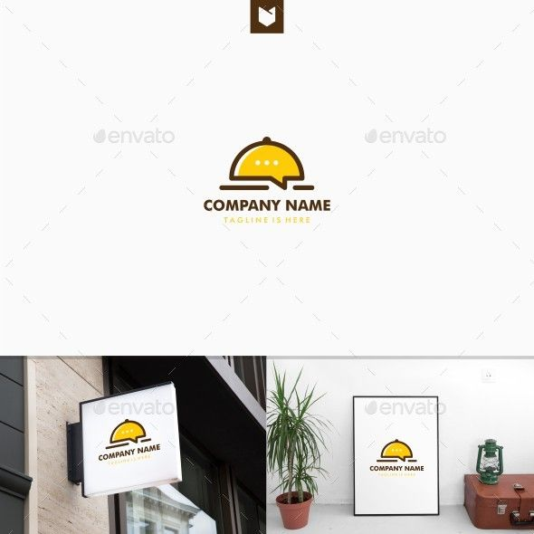 Food Chat Talk Bubble Restaurant Logo Template Vector EPS, AI Illustrator