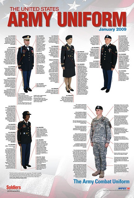 United States Army Uniform - dress blues in top right is what he'll be wearing.