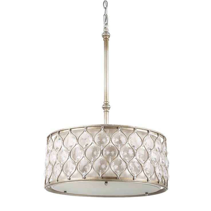 Murray Feiss F2568/3BUS 3 Light Lucia Drum Large Pendant, Burnished Silver