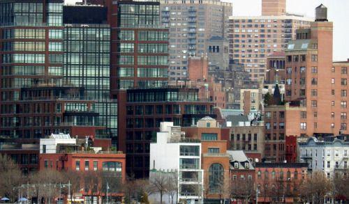 Buildings along the Hudson River in Chelsea, Manhattan.