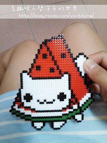 Watermelon Nyanko Perler Hama Melty Fuse Beads
