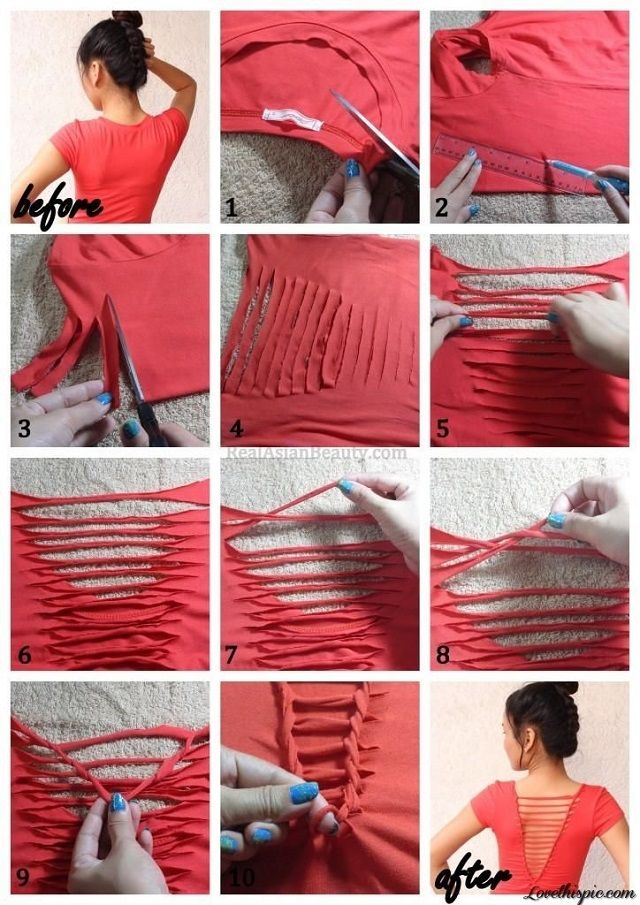 diy no sew shirts | At the end, cut the string in half and tie it very well. And Voila!