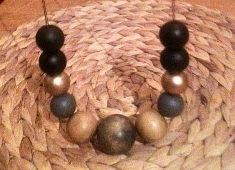 Painted wooden bead necklace