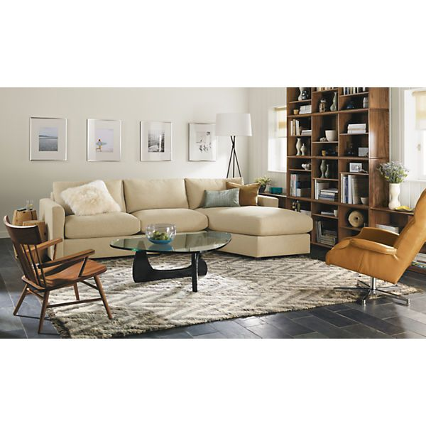 "Room & Board - Max 111x111"" Three-Piece Sectional with Ottoman"