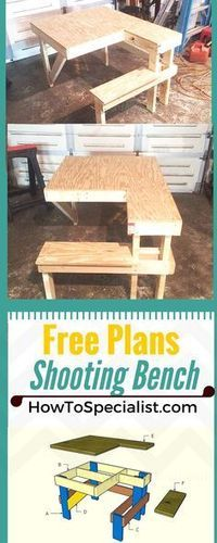 How to build a shooting bench - Step by step plans and instructions for you to learn how to make a wood shooting table!